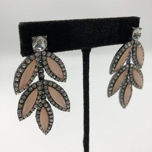 Jewelry - Rhinestone peach/pink leaf drop earrings